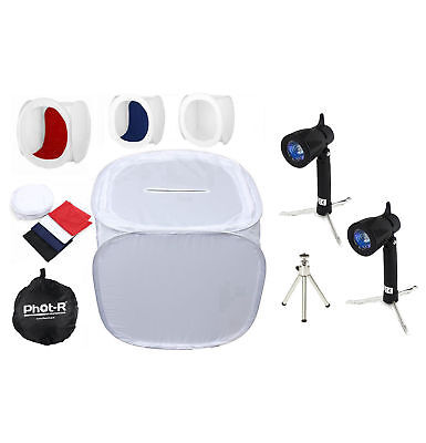 Phot-R Photo Studio Tent Soft Box Cube 90x90x90cm Kit + Light Tripod 4 Backdrops