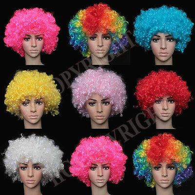 Party Disco Afro Clown Hair Football Fan Adult Halloween Masquerade Wig LM