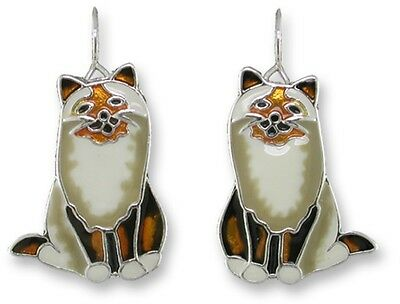 Zarah Zarlite Cat Earrings, Birman Silver Plated Painted Enamel, cat gifts