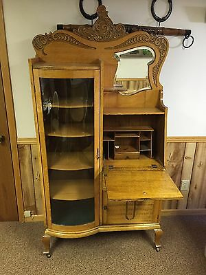 Antique Secretary Desk With Original Key, Mirror, Curved Glass