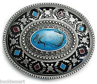 Indian Native American style Turquoise Belt Buckle Round western
