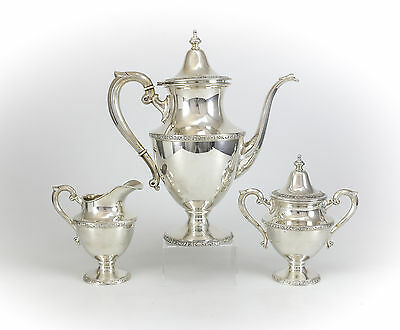 Vintage 3pc Artcraft Sterling Silver Coffee Service Set. 38.96ozt