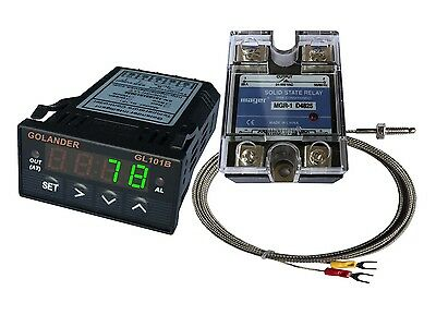 12V DC 1/32DIN PID Temperature Controller, Green+ 25A SSR + K thermocouple