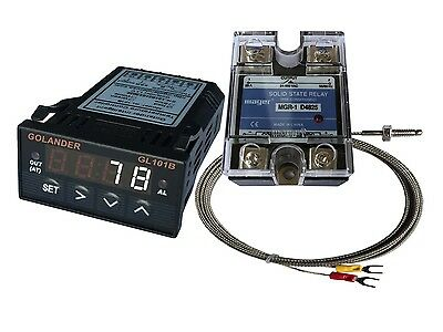 12V DC 1/32DIN PID Temperature Controller, White+ 25A SSR + K thermocouple