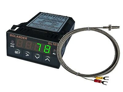 24V DC 1/32DIN Digital PID Temperature Controller, Green with K thermocouple