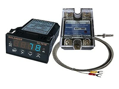 24V DC 1/32DIN PID Temperature Controller, Blue + 25A SSR + K thermocouple