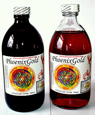 Bioavailable Colloidal Gold~40ppm to 120ppm 500/200ml nano ormus ormes Ruby red