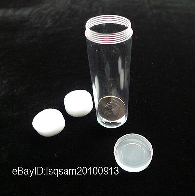 2 x Clear For Similar Half Dollar Round Plastic Coin Tubes Diameter 32 mm