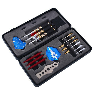 HOT Brass Cool DARTS SET Dart Stems 18g Flights (9) +Nice +Steel Tip +Case Gift