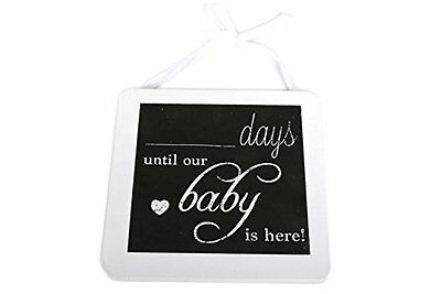 """Pregnancy Countdown """"Days Until Our Baby Is Here"""" Chalkboard Plaque ~ """" Assorted"""