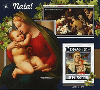 Mozambique 2015 MNH Christmas 1v S/S Art Paintings Giovanni Bellini Madonna