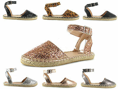 Womens Ladies Glitter Espadrilles Flat Ankle Strap Shoes Sandals Sizes 3-9