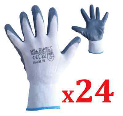 24 Pairs 100% Nitrile Coated Safety Work Gloves Gardening Builders Mechanic