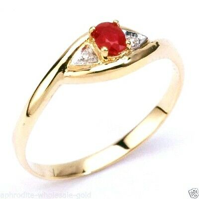 New 9K Solid Gold Ring With Ruby & Diamonds,in-Stock