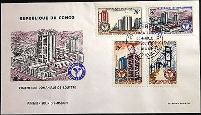 KONGO BRAZZAVILLE 1969 194-97 193-6 Cement Works Industrie Industry Factory FDC