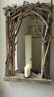 Driftwood Mirror with sculptured branch and candle shelf