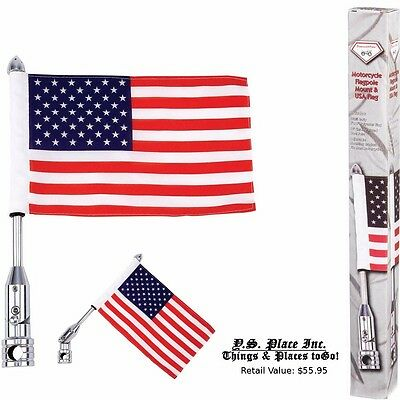 "Motorcycle Flag Pole Mount 6"" X 9"" Flag American Harley Davidson Luggage Rack"