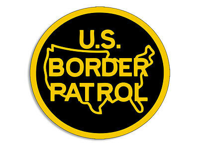 4x4 inch ROUND Yellow / Black US Border Patrol Logo Bumper Sticker -anti illegal