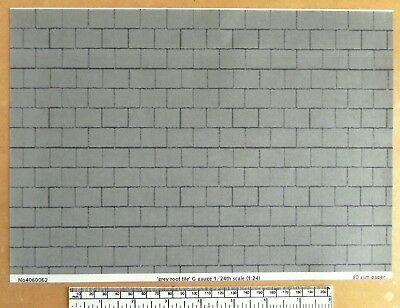 G gauge (1:24) scale) grey roof tile paper - A4 sheet (297 x 210 mm)