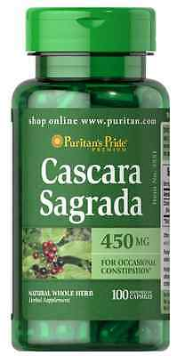 CASCARA SAGRADA 450MG, x100 Capsules, PURITANS PRIDE PREMIUM - FAST DISPATCH