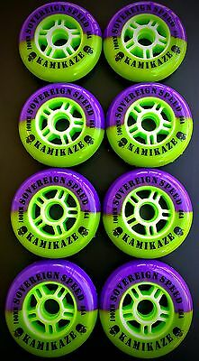 8 Pack New Kamikaze 100mm Inline Wheels , Fitness Speed Skates Rollerblade 86a
