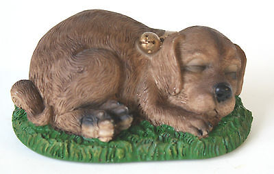 Vintage Collectible Tender Times Sleeping Dog Figurine Puppy on Grass MINT