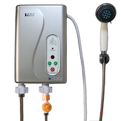 Electric Tankless Shower Hot Water System Water Heater Temp Adjustable Bath 240V