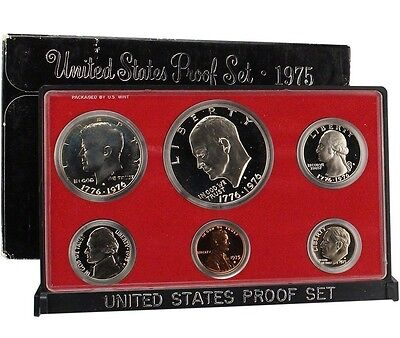 1975 S Proof Set Original Box 6 Coins Ike Dollar Kennedy Half US Mint