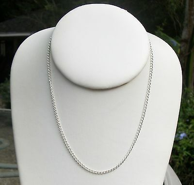 "16"" Sterling Silver CURB chain Necklace fancy link 925 modern elegant 2mm NEW"
