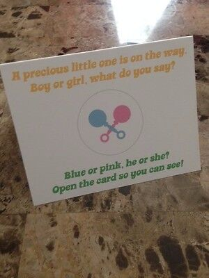 Pregnancy announcement card - Gender reveal! Blank inside.