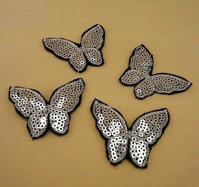 FD1733 Sequins Lace Embroidery DIY Sewing Craft Patch Appliques ~Butterfly~ 2PCs