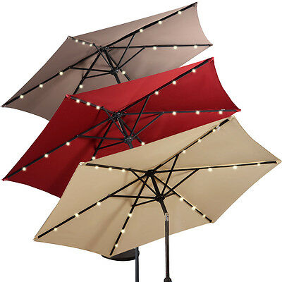 2.7M LED Lights Umbrella Solar Patio Outdoor Party Garden Sunshade Parasol