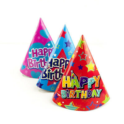 Pack of 12 - Happy Birthday Party Silver - Paper Cone Hats Fun Game