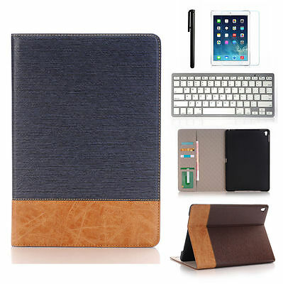 "Apple iPad Pro 12.9""/ 9.7"" Leather Case Card Wallet Folio Smart Cover + Keyboard"