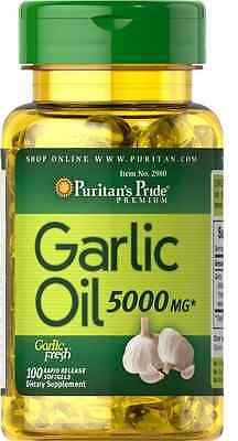 Garlic Oil HIGH STRENGTH **5000 mg*** X 100 Softgels -  Puritan's Pride PREMIUM