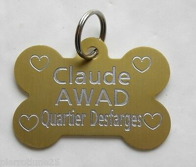 Medaille Gravee Chien Os Grand Modele Motifs Coeur 10 Couleurs