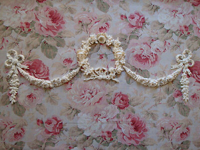 Shabby & Chic Rose Wreath Swags Bows Drops HUGE Furniture Applique Embellishment