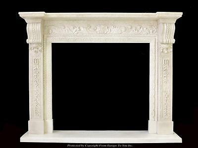 Beautiful Hand Carved Marble European Design Marble Figural Fireplace Mantel Z1