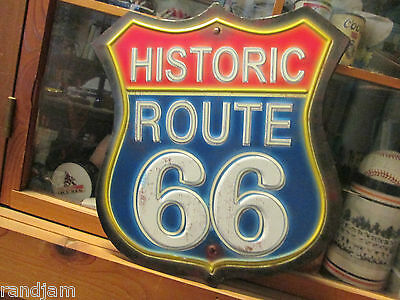 Historic Route 66 Vintage Neon Look Metal Sign Harley Indian Dodge Man Cave