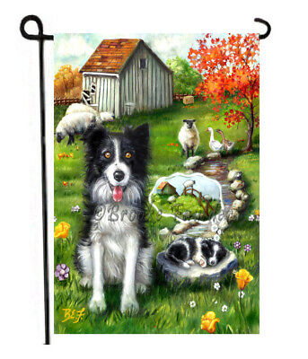 BORDER COLLIE painting GARDEN FLAG Dog Art AUTUMN FALL puppy sheep