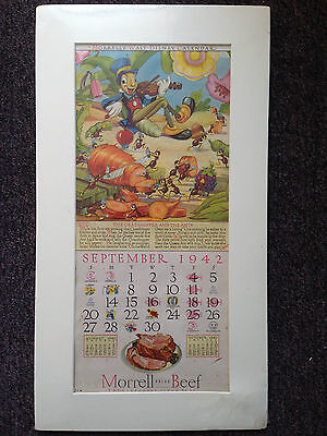 Vintage 1942 Disney Morrell Calendar Pages~September