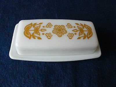 Vintage PYREX Covered Butter Dish-Butterfly Gold Milk Glass