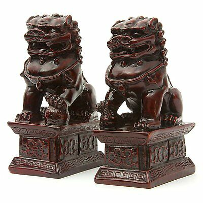 """LARGE Feng Shui Oriental Red Fu Foo Dog Home Protection Lions Guardians Set 6"""""""