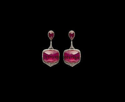 Art Deco Antique Rose Cut Diamond 1.62Ct Silver 92.5 Ruby Amazing Party Earrings