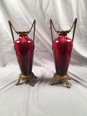 AntQ Tall French Ormolu Mounted Red Flambe Sang De Boeuf Glazed Matching Vases