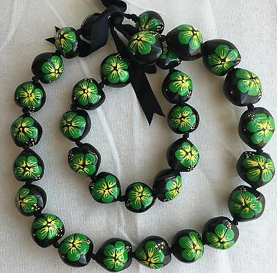 Kukui Nut Lei Hibiscus GREEN Flower Necklace Hawaiian Wedding Luau Graduation
