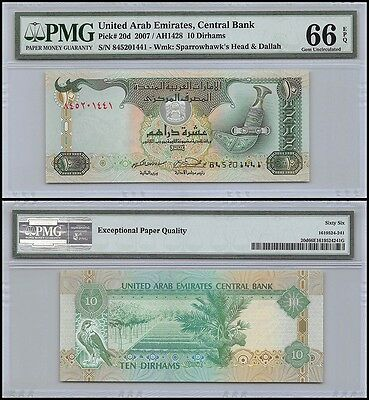 United Arab Emirates - UAE 10 Dirhams, 2007, P-20d, Sparrowhawk's Head, PMG 66