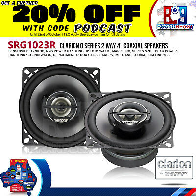"""Clarion Srg1023r 4"""" 200 Watts Coaxial 2-way Car Audio Speakers (Pair)"""