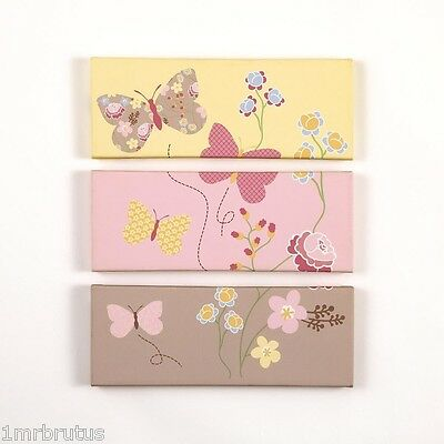 CoCaLo Maeberry Girl Nursery 3-Piece Canvas Wall Art Decor - Butterfly & Flowers
