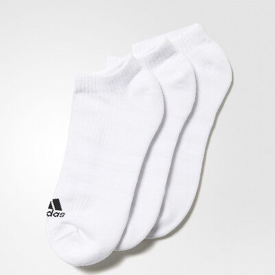 Adidas 3S Performance No Show HC Mens Womens White Trainers Socks 3 Pack